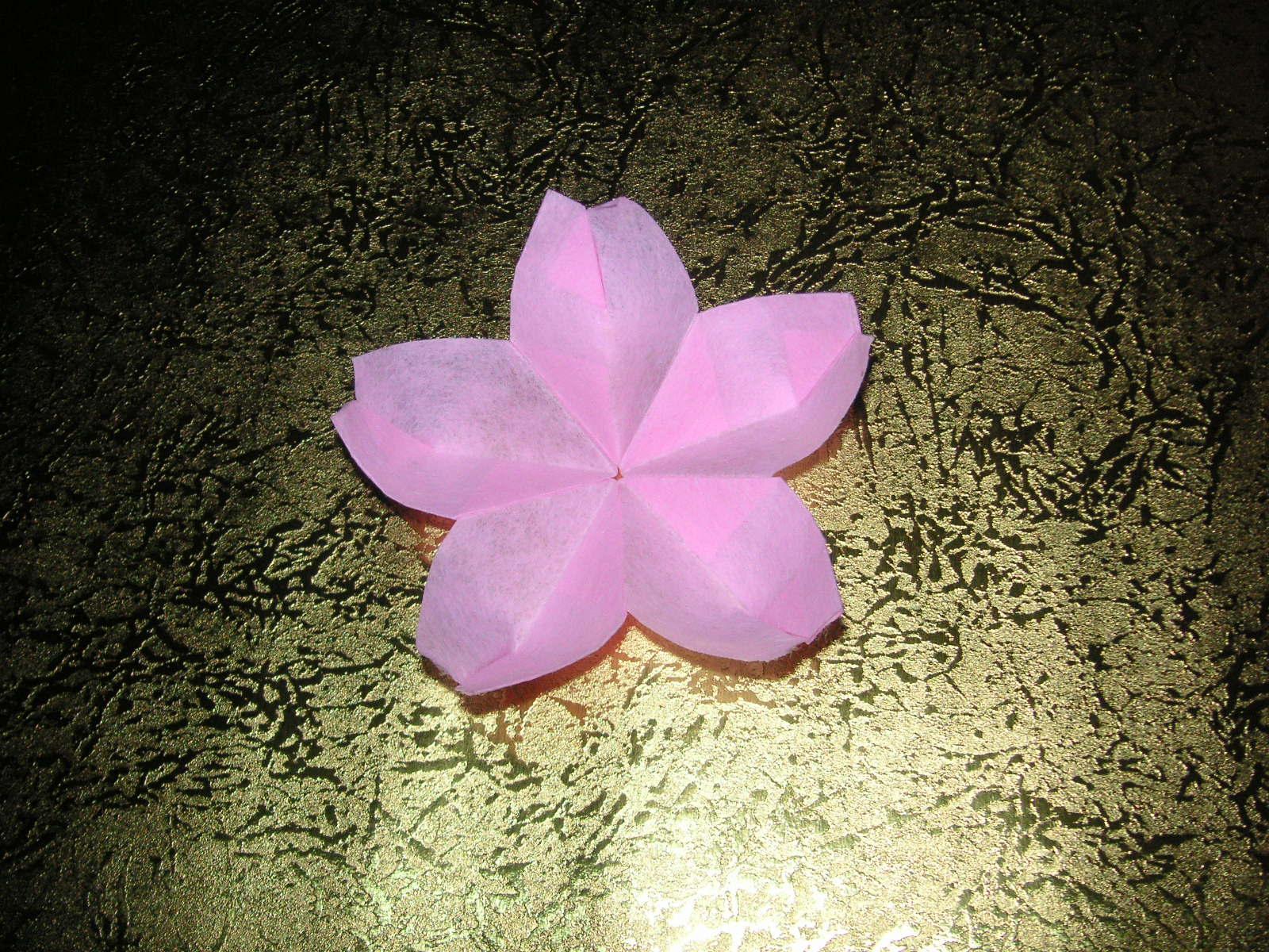すべての折り紙 桃 折り紙 折り方 : 桜のくす玉の折り方: 山吹日記